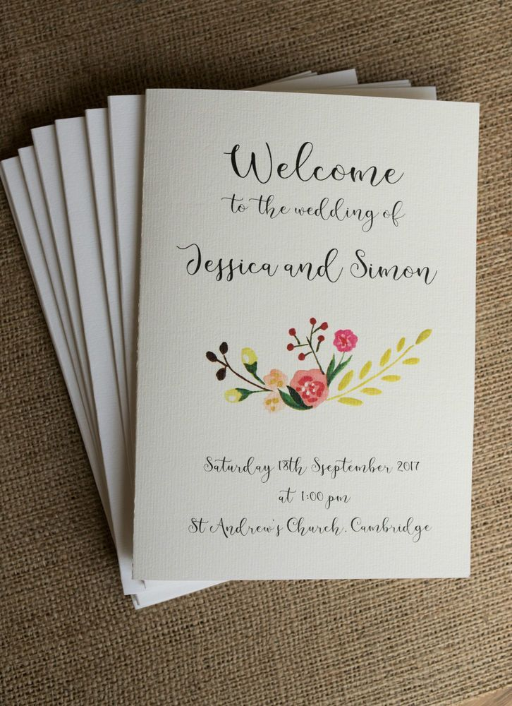 5 X Wedding Order Of Service Covers Vintage Personalised Shabby Chic Church