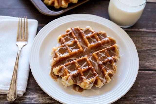Cinnamon Roll Liege Waffles - Belgian Sugar Waffles
