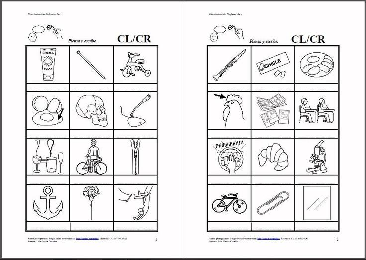 MATERIALES - Discriminación CL-CR.    Diferentes fichas para trabajar la discriminación auditiva entre cl-cr.    http://arasaac.org/materiales.php?id_material=883