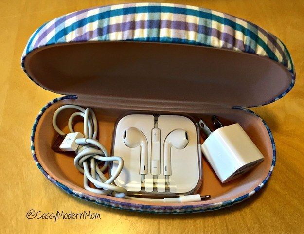 Use an old sunglasses case to keep your phone charger and earbuds safe in your purse. | 7 Easy Organizing Tricks You'll Actually Want To Try