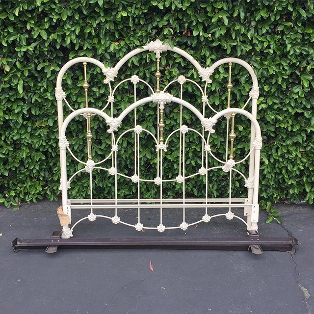 Vintage White Wrought Iron Brass Full Size Bed Frame Includes Headboard Footboard Side Rails Romantic Scroll I Full Size Bed Frame Bed Frame Full Size Bed