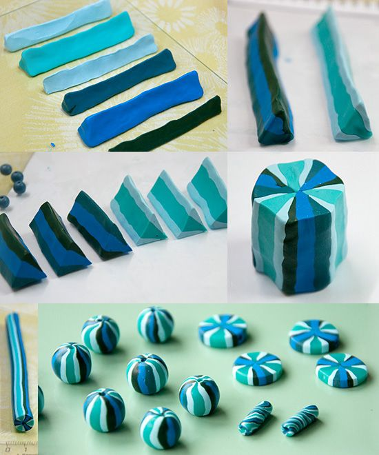 Striped Blue Beads Polymer clay inspiration