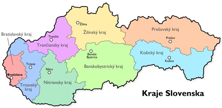 Map of Slovakia, current counties from cisarik.com