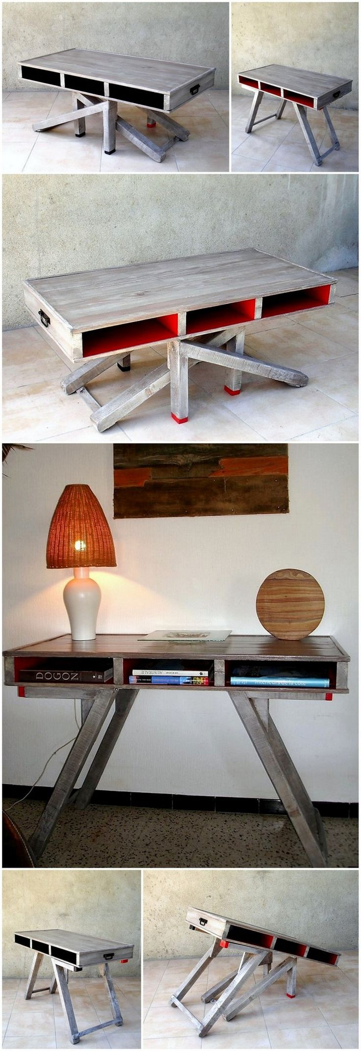 Wood Pallets Made Folding Study Table