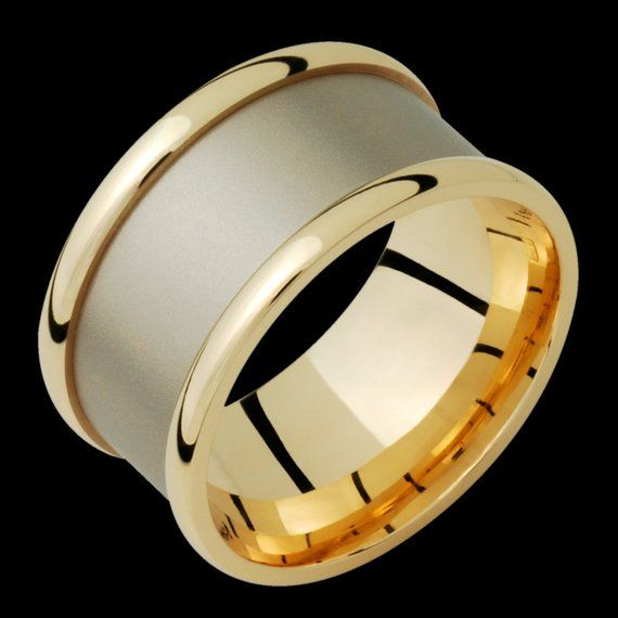 10mm Two Tone Comfort Fit 10k Solid Gold Not Plated Wedding Band Fashion Ring Solid Gold White Gold Wedding Bands Black Titanium Wedding Bands