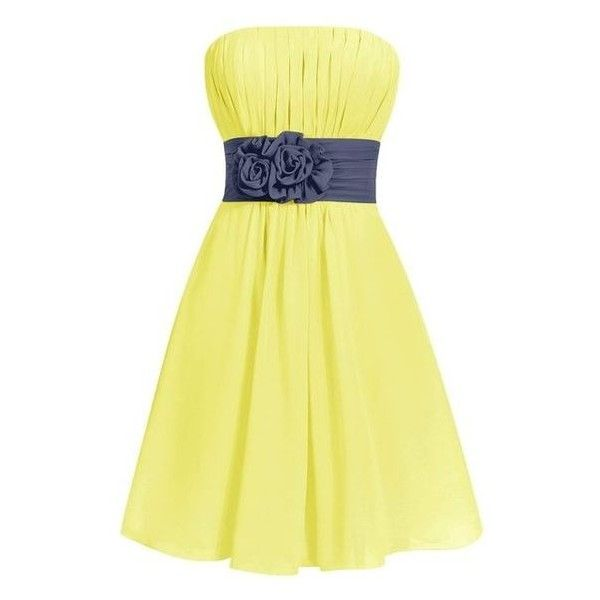 Dresstells Women's Short Strapless Chiffon Bridesmaid Dress Party... ❤ liked on Polyvore featuring dresses, chiffon bridesmaid dresses, yellow strapless dress, yellow dress, strapless dresses and chiffon dresses