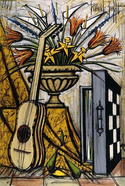 Guitar and Backgammon Board; Guitare at Jacquet, 1988 (oil on canvas) Bernard Buffet