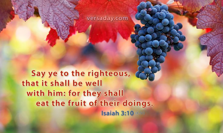 """Isaiah 3:10. """"Say ye to the righteous, that it shall be well with him; for…"""