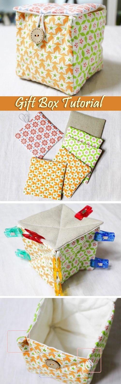Make a Fabric Treasure Gift Box. Photo Instructions DIY step-by-step tutorial.  http://www.handmadiya.com/2016/05/diy-gift-box-tutorial.html