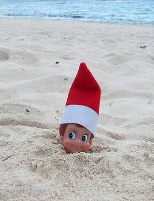 Elf on the Shelf is at the beach stuck in the sand, quick sand....Maybe someone will help him get out....