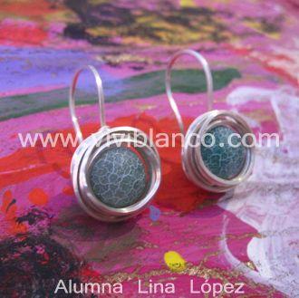Aretes / Zarcillos con hilo cuadrado de plata. Curso de Joyería de ViviBlanco.