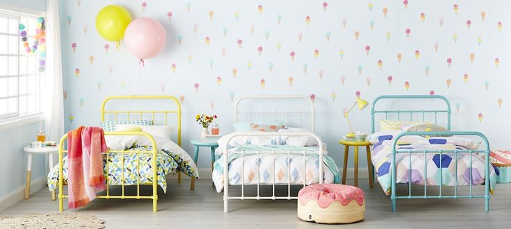 Popsicle Bedroom Furniture - Vintage cool is making a comeback, with the kids Popsicle range oozing playfulness and creativity. Fashioned from metal tube with powder coating, the bentwood slat base creates a tailored and ageless design that will transform your kids' haven into a fun-filled, bright space.  These beauties can also work wonders as day beds, leaving a lasting impression in your home. Brighten up your kids zone in yellow, teal or white.