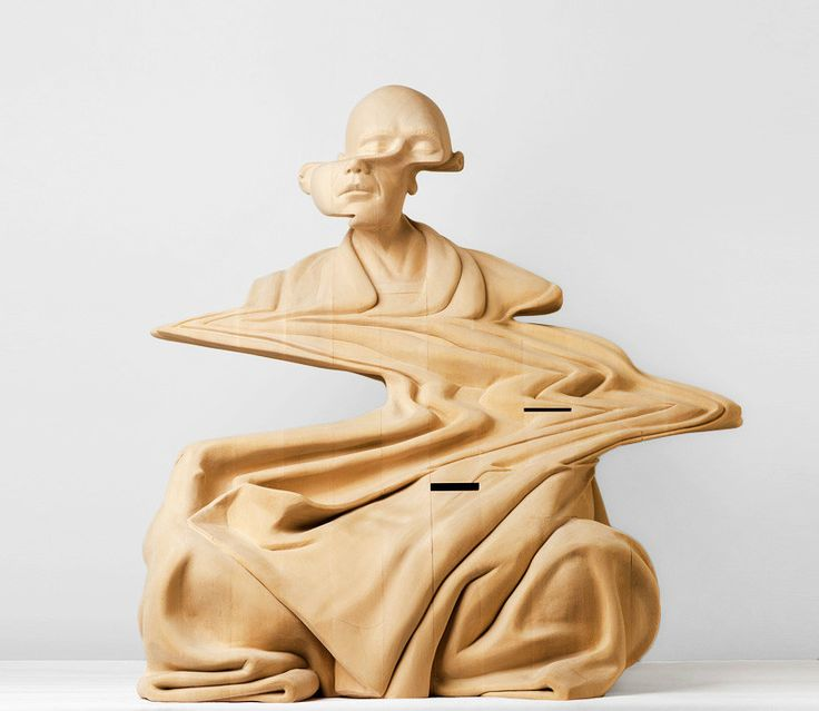 GlitchwoodensculpturePaulKaptein Paul Kaptein An - Taiwanese sculpture uses wood to create sculptures of people effected by pixelated glitches