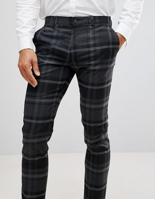 7019373bfb River Island Skinny Fit Smart Trousers In Grey Check | Men's Smart ...