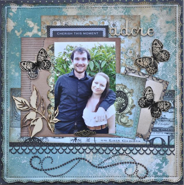 A layout made using the 75 cents collection from Kaisercraft.