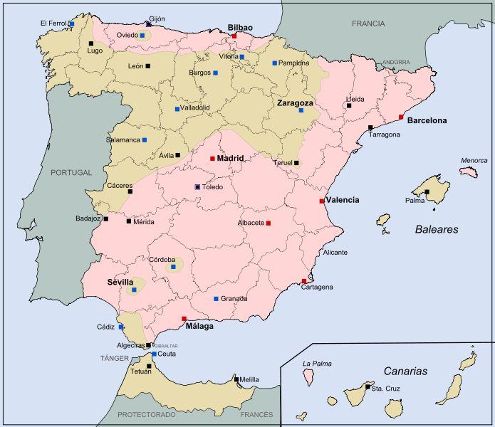 Mapa de España el 25 de julio de 1936. en color rosa las posiciones gubernamentales y en marrón las rebeldes.