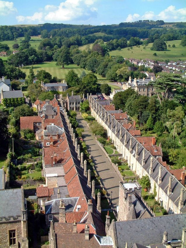 Vicars' Close, the oldest continually occupied street in Europe - Wells, Somerset.  View from the tower of Wells Cathedral.