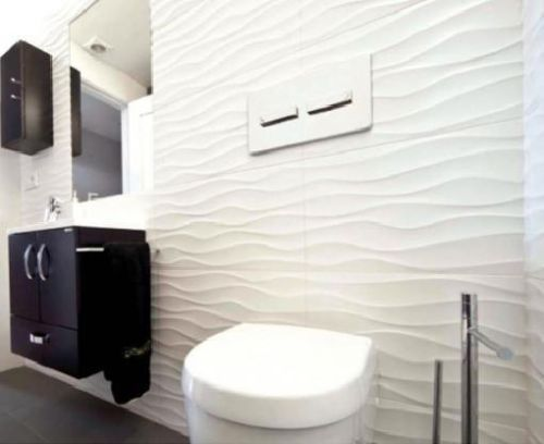 Designer textured glossy white decor wave 3d effect wavy for White ceramic tile bathroom ideas
