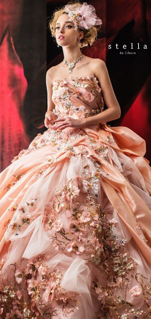 Stella de libero 2015 - I don't care for the over-embellishment of the bodice but this would be beautiful for a garden ceremony.