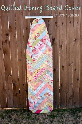 "How to ""quilt"" an iron board cover from the Moda Bake Shop. I might have to make one out of old blocks that never made it into a quilt"