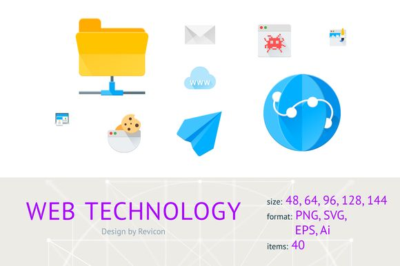 NEW! WEB technology (40 icons) by Revicon on @creativemarket