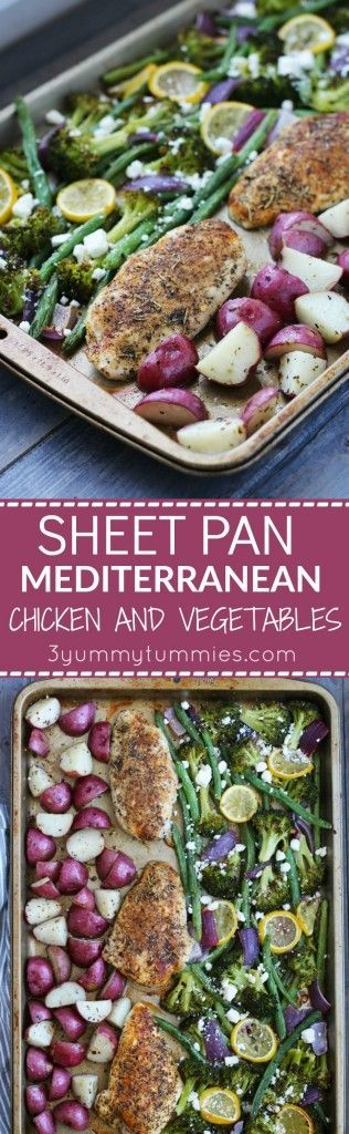 This healthy, Sheet Pan Mediterranean Chicken and Vegetables dish only requires one pan and bakes in 25 minutes! So many great flavors going on here! (Chicken Meals Healthy)