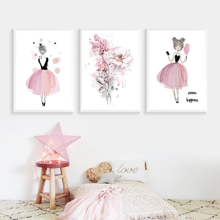 Pink Princess Posters For Girl's Bedrooms Modern Retro Vintage Floral Fairy Love Happiness Canvas Wall Art Paintings Birthday Gifts For Girls