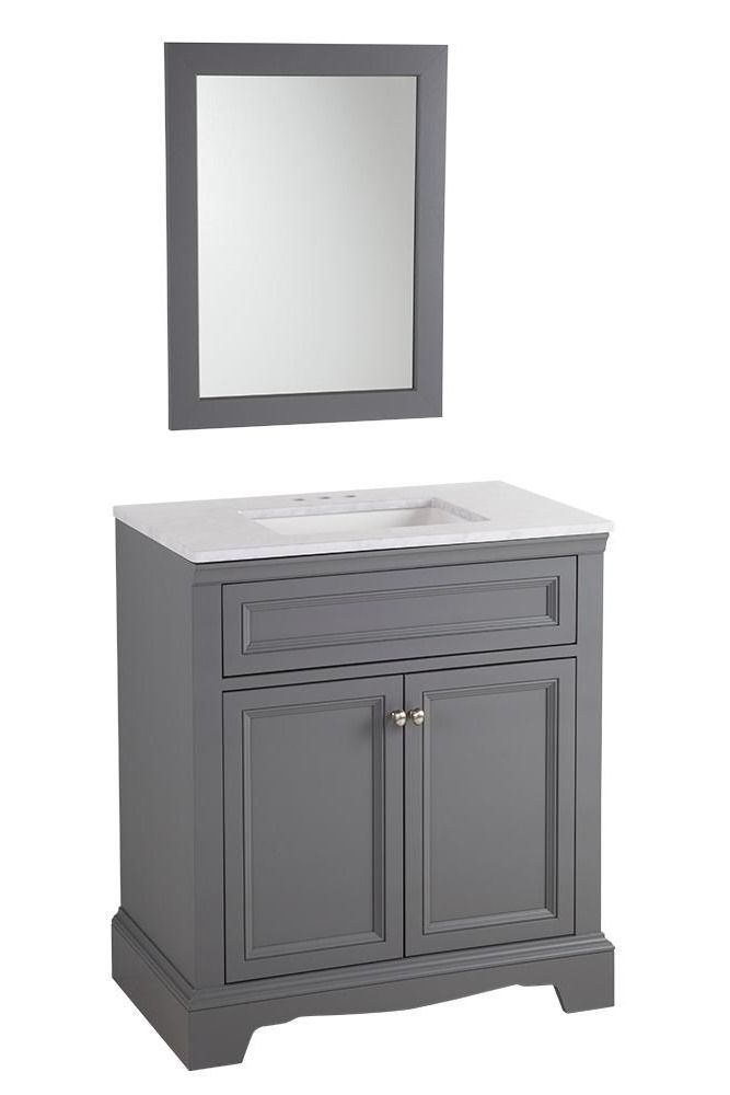 The Windsor Park's Graphite finish consists of a smoky cadet gray stain with color matching interior and decorative toe-kick. Comes with a matching mirror.