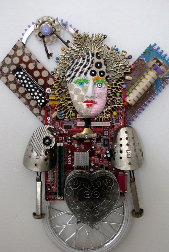 Do Not Buy On Exhibit My Guardian Angel  Unique Recycled Found Object Mixed Media Sculpture