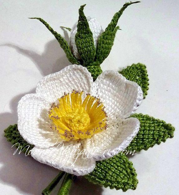 Шиповник тунисским вязанием - Crochet Modnoe Vyazanie