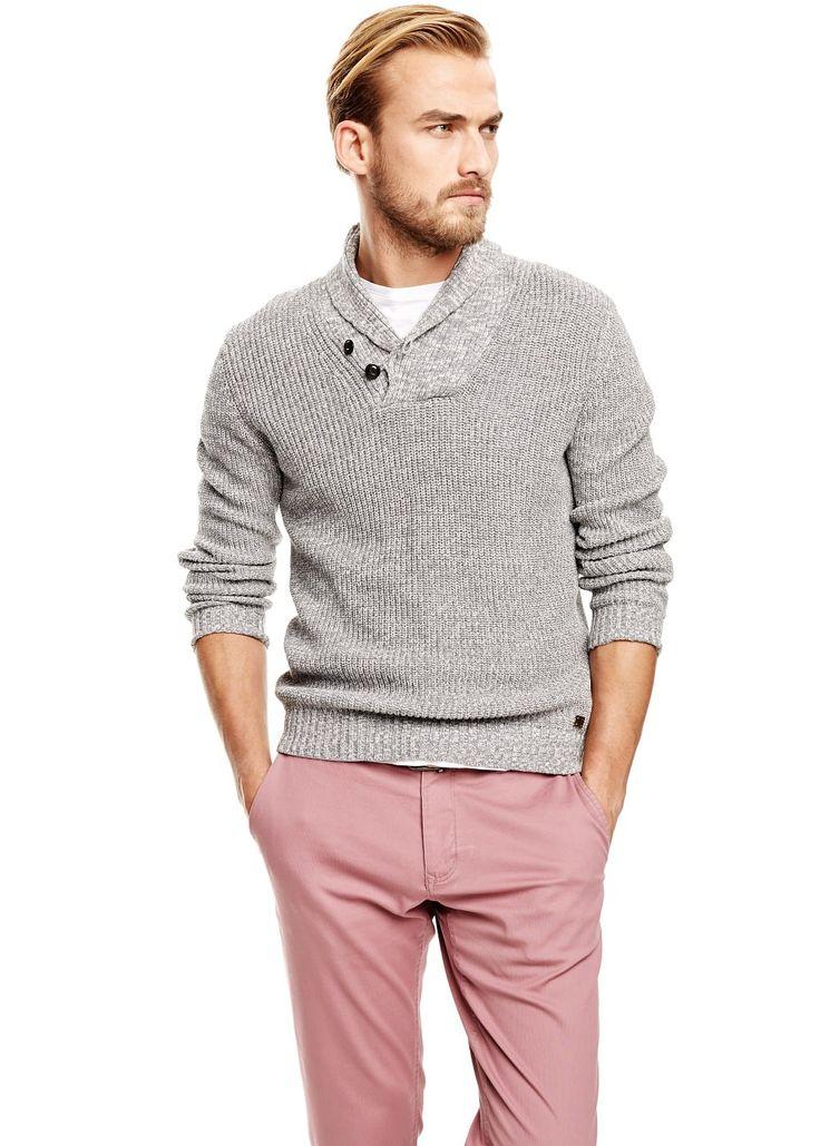 Shawl collar flecked sweater