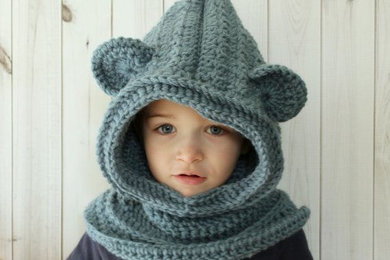 Toddler hooded bear ears cowl hood hoodie by LaCapitaineCrochete