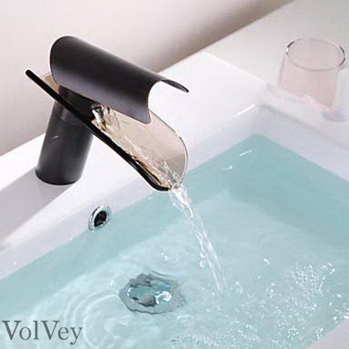 Bathroom Faucets DIY | Volvey Oil Rubbed Bronze Bathroom Sink Faucets Glass Waterfall Widespread Single Handle Single Hole Contemporary Waterfall Mixer Taps Lavatory Faucets Brass Plumbing Fixtures Discount >>> Read more  at the image link. Note:It is Affiliate Link to Amazon.