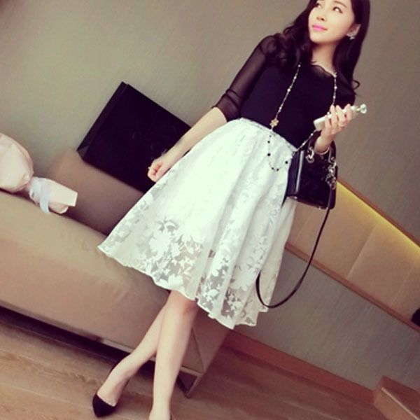618 New Elegant Ladies Lace Flower Print Skirt Women Double Layer Skirts Elastic Waist Skirt #Affiliate