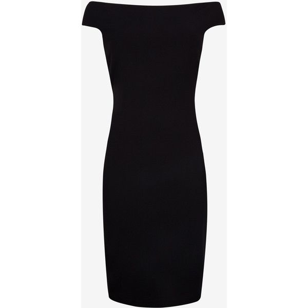 Ted Baker Bardot Neckline Bodycon Dress (370 CAD) ❤ liked on Polyvore featuring dresses, black, body con dress, short sleeve black dress, black dress, bodycon dress and black off the shoulder dress