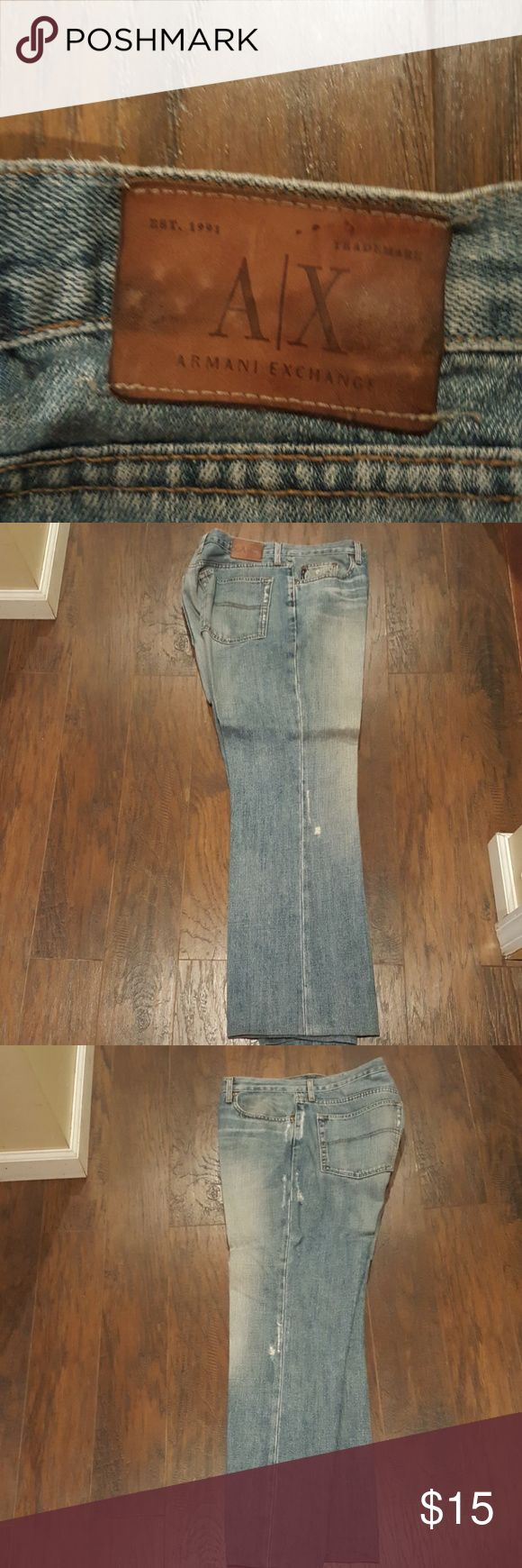 Armani Exchange Boot Cut Jeans Tag says 38in waist custom altered to a 31.2 inseam. Pants have also been altered to fit a 36 in waist.  Distressed Look. Already pressed, ready to wear! Armani Exchange Jeans Bootcut