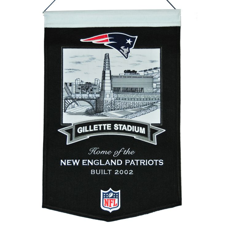 """This beautifully embroidered 15"""" x 20"""" banner celebrates the proud tradition of the New England Patriots and their famed Gillette Stadium. This banner is constructed from wool and includes embroidery and applique. A hanging rod and cord are included for easy hanging."""