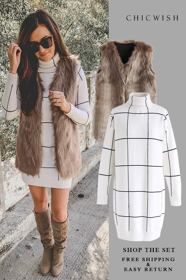 7041df9f1c Free Shipping   Easy Return. Up to 30% Off. Mid-Length Brown Faux Fur Vest  and Warm Welcome Grid Turtleneck Sweater Dress featured by kotineru