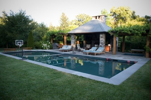 Rectangle pool w small cabana outdoor ideas pinterest for Sports pool designs