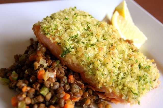 """Salmon with panko crust by Ina Garten (""""Ina Garten Barefoot Contessa Foolproof"""") . . . easy peasy, tried it tonight on a picky eater, good enough for company!"""