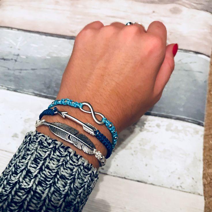 Triple bracelet stack on my Etsy - loving blues 💙