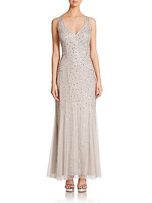 Comes in a beautiful Navy - Aidan Mattox Sequin V-Neck Bridesmaid Gown
