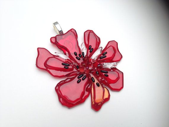 Red Flower Fusible Glass Pendant Zulya Ready to ship by ZULYA, $20.00