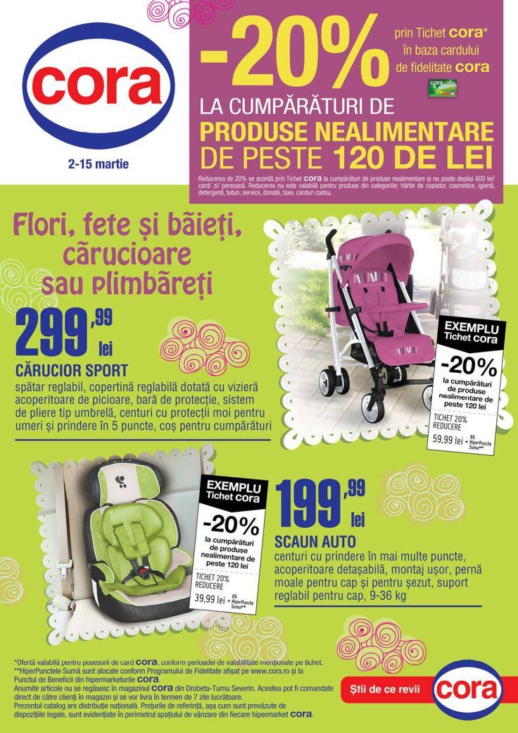 Catalog Cora Puericultura 2-15 Martie 2016!Oferte si recomandari: carucior sport cu spatar si copertina reglabila, pret 299.99 lei.