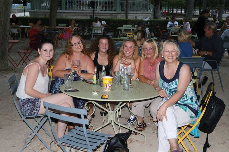 "This a photo taking in Poitier, France with the best bunch of friends a girl could have . We are sat outside the Bar / restaurant ""Le Kiosque du Parc du Blossac"" Where the Staff are fantastic ."