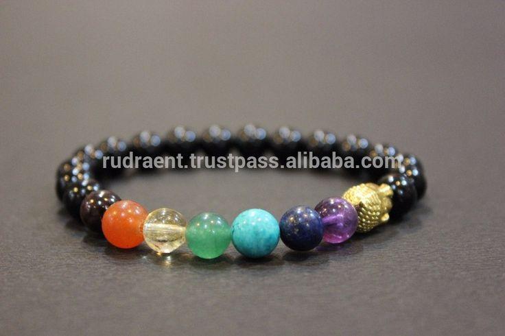 Black Onyx & 7 Chakra Yoga Wrist Mala Bracelet, Stretchable Gemstone Bracelet for Men & Women, Round Beaded Bracelet