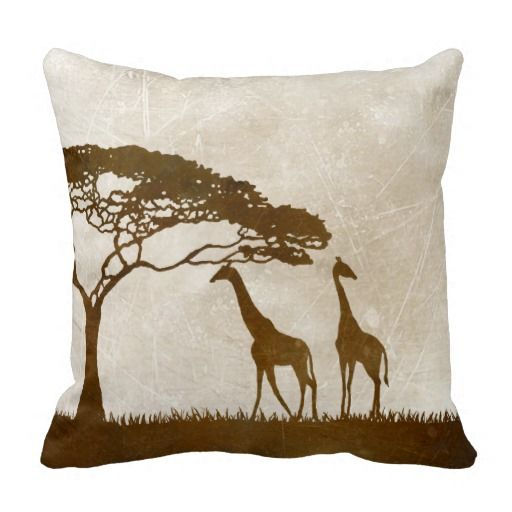 Brown and Ivory African Giraffe Wedding Throw Pillows