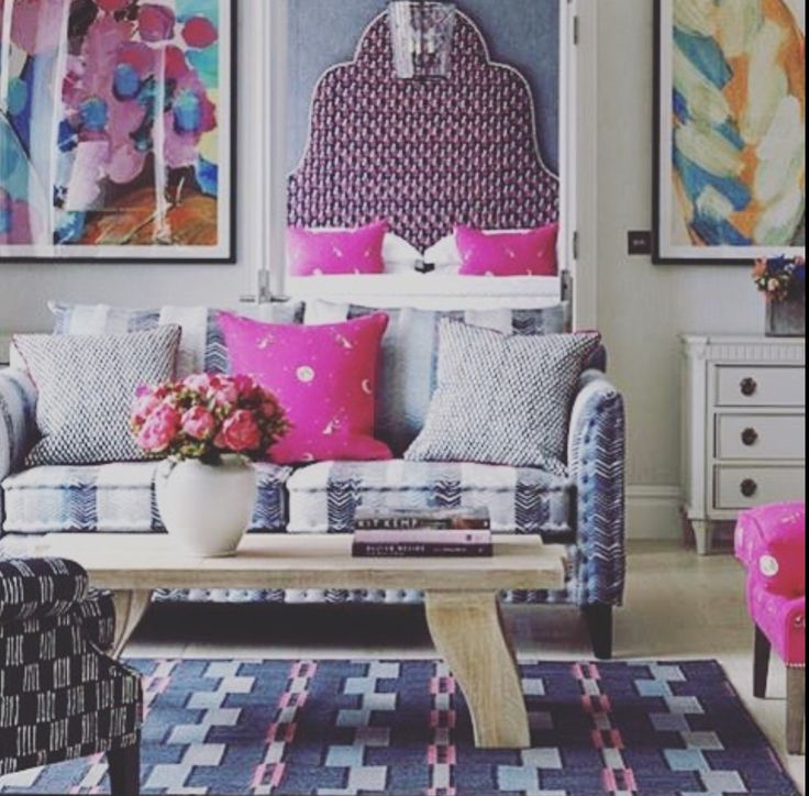 We Absolutely Love This Brightly Colored Living Room By Designer Kit Kemp Featured In Her Book Every Tells A Story These Mixed Textiles Are Perfectly