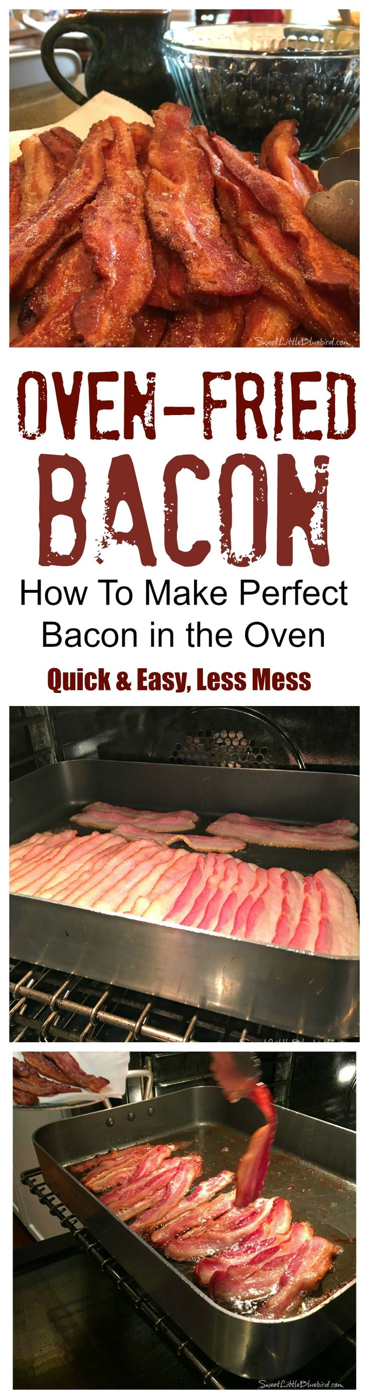 OVEN-FRIED BACON - Quick & Easy, a lot Less Mess!!  Perfect crispy bacon every time!! |  SweetLittleBluebird.com