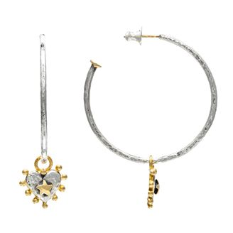 Large fine hoop with nobbly heart drop earrings by Sophie Harley London.